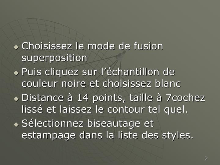 Choisissez le mode de fusion superposition