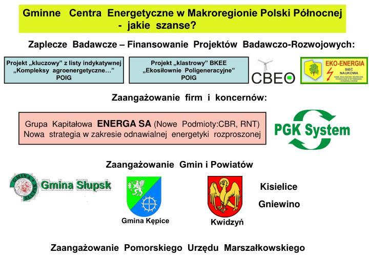 Gminne   Centra  Energetyczne w Makroregionie Polski Północnej