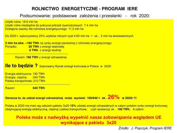 ROLNICTWO  ENERGETYCZNE - PROGRAM  IERE