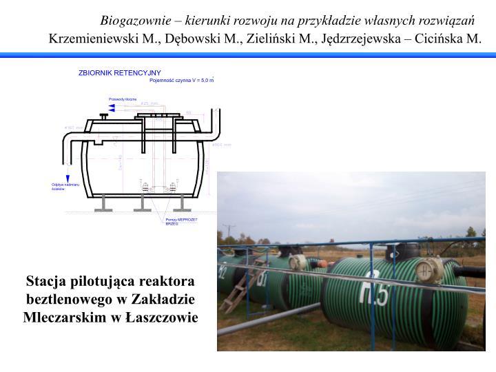 Biogazownie – kierunki rozwoju na przykładzie własnych rozwiązań