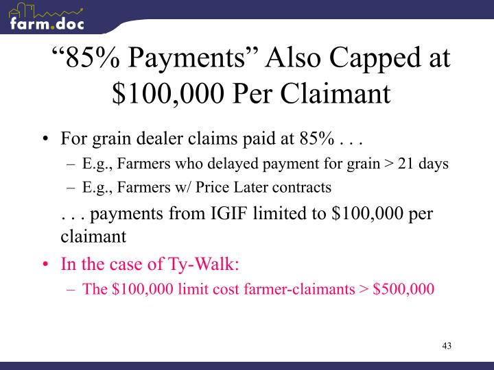 """85% Payments"" Also Capped at $100,000 Per Claimant"