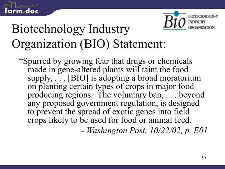 Biotechnology Industry Organization (BIO) Statement: