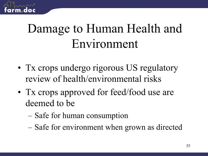 Damage to Human Health and Environment