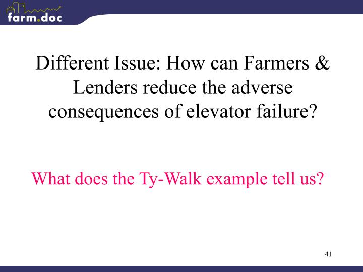 Different Issue: How can Farmers & Lenders reduce the adverse consequences of elevator failure?