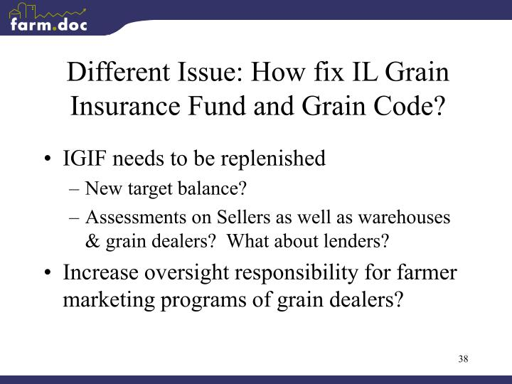 Different Issue: How fix IL Grain Insurance Fund and Grain Code?
