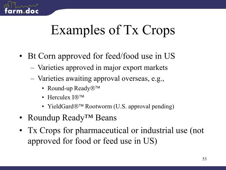 Examples of Tx Crops