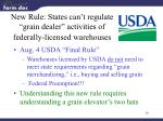 new rule states can t regulate grain dealer activities of federally licensed warehouses
