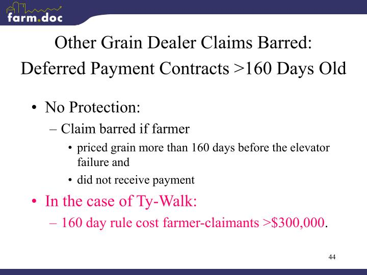 Other Grain Dealer Claims Barred: