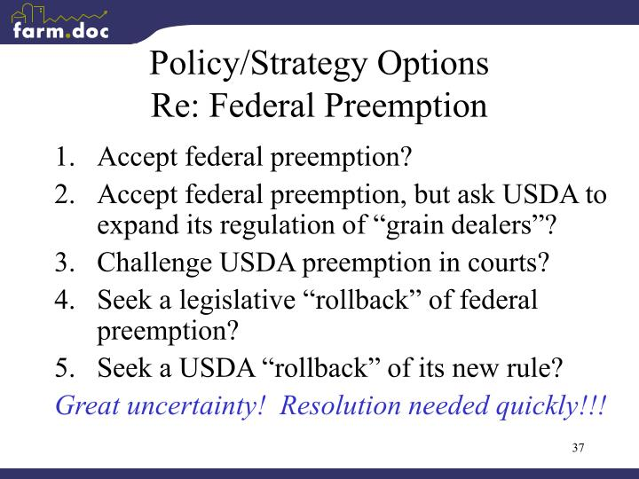 Policy/Strategy Options