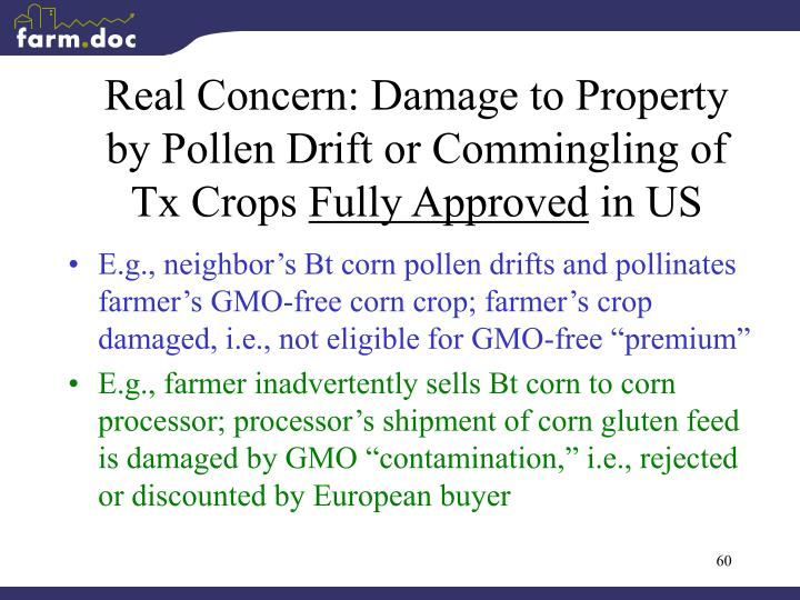 Real Concern: Damage to Property by Pollen Drift or Commingling of Tx Crops