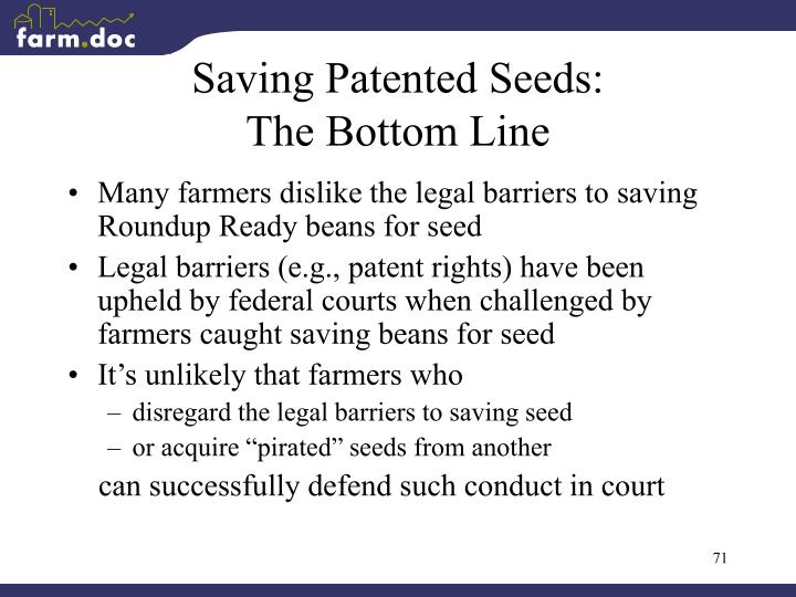 Saving Patented Seeds: