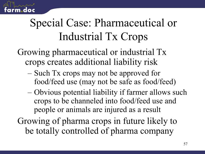 Special Case: Pharmaceutical or Industrial Tx Crops