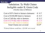 tabulation ty walk claims ineligible under il grain code october data in millions