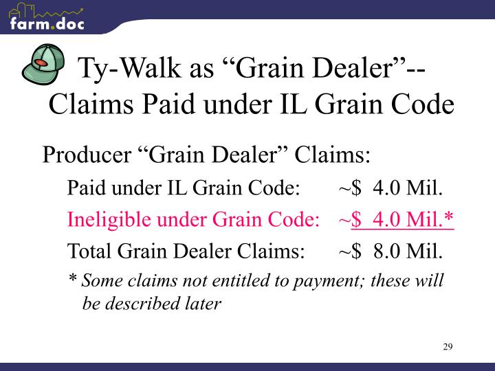 "Ty-Walk as ""Grain Dealer""--"