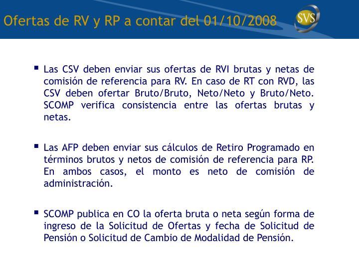 Ofertas de RV y RP a contar del 01/10/2008