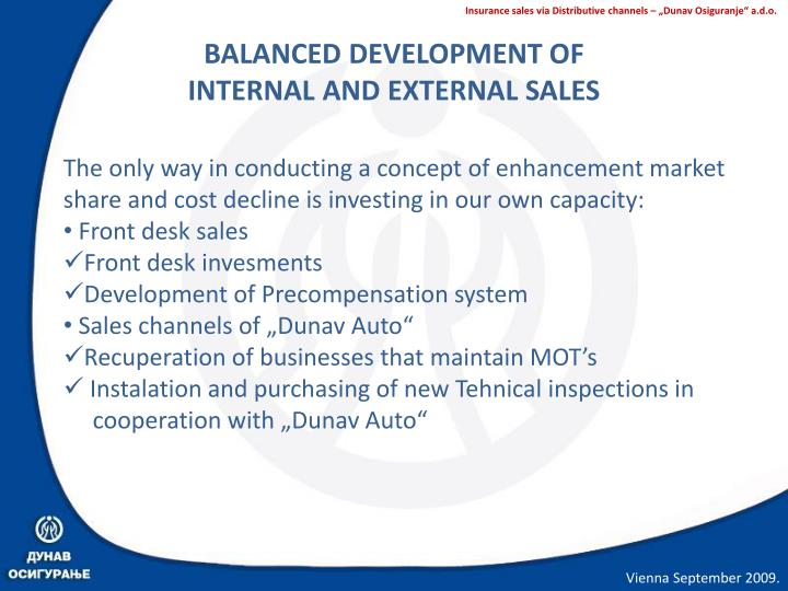 BALANCED DEVELOPMENT OF INTERNAL AND EXTERNAL SALES