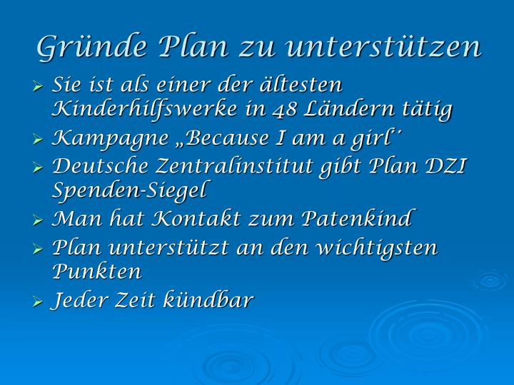Gründe Plan zu unterstützen