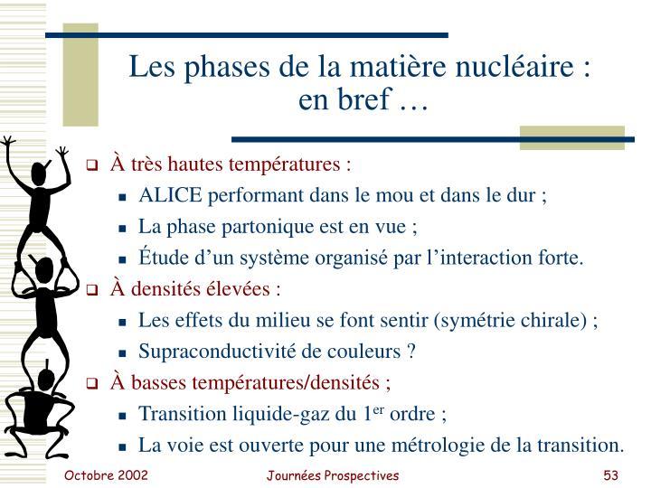 Les phases de la matière nucléaire :