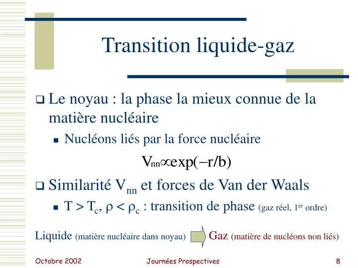 Transition liquide-gaz