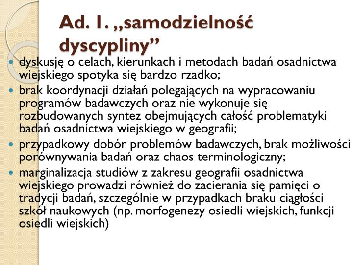 """Ad. 1. """"samodzielność dyscypliny"""""""