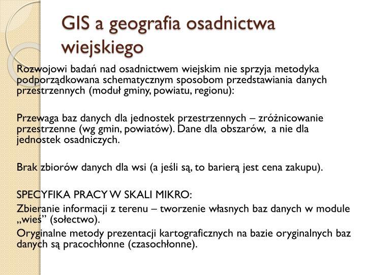 GIS a geografia osadnictwa wiejskiego