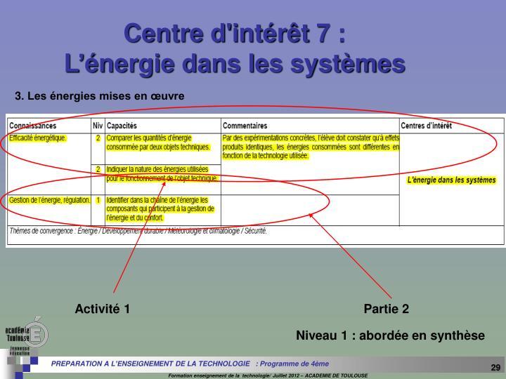 Centre d'intérêt 7 :