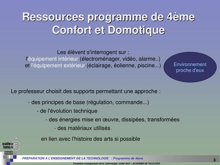 Ressources programme de 4ème