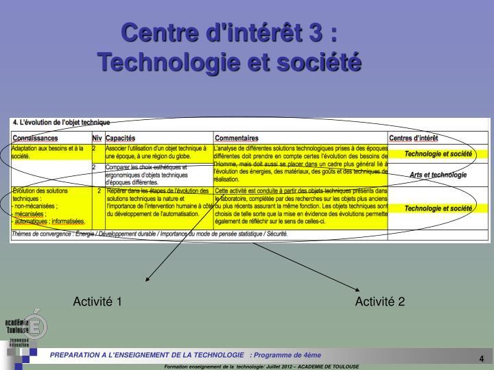 Centre d'intérêt 3 :