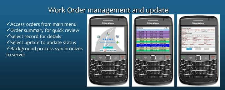 Work Order management and update