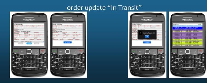 """order update """"In Transit"""""""