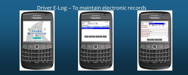 Driver E-Log – To maintain electronic records