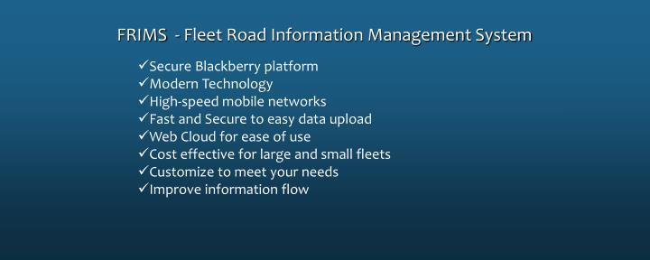 FRIMS  - Fleet Road Information Management System