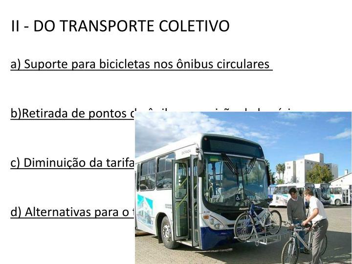II - DO TRANSPORTE COLETIVO