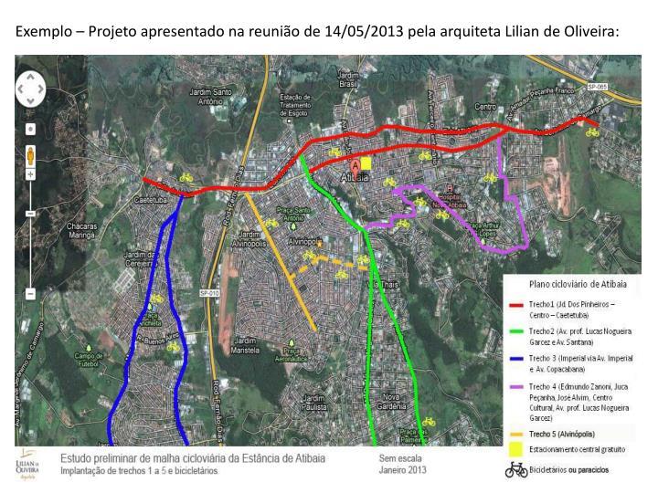 Exemplo – Projeto apresentado na reunião de 14/05/2013 pela arquiteta Lilian de Oliveira: