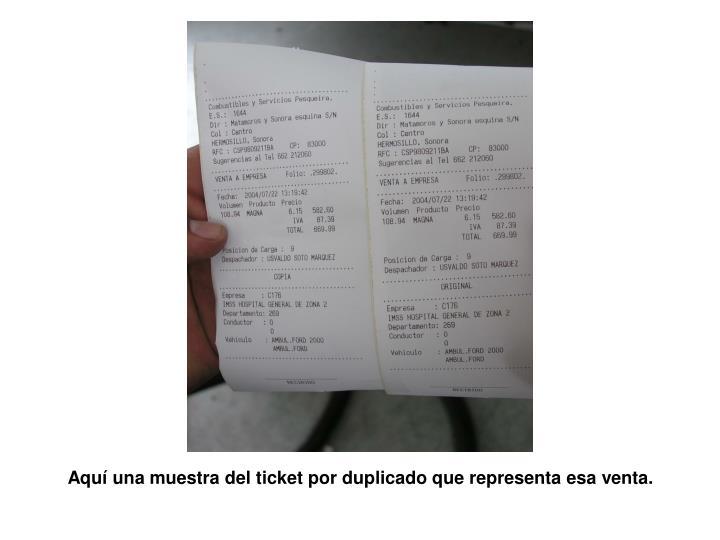 Aqu una muestra del ticket por duplicado que representa esa venta.