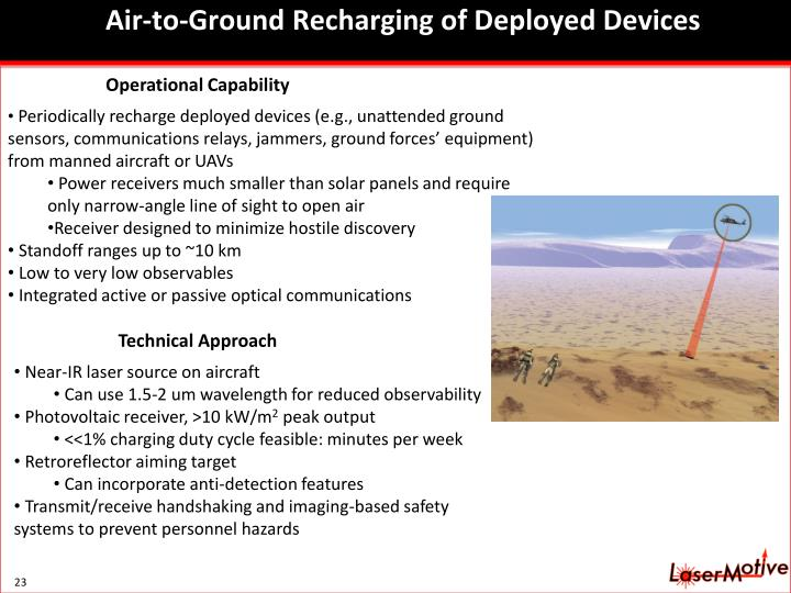 Air-to-Ground Recharging of Deployed Devices