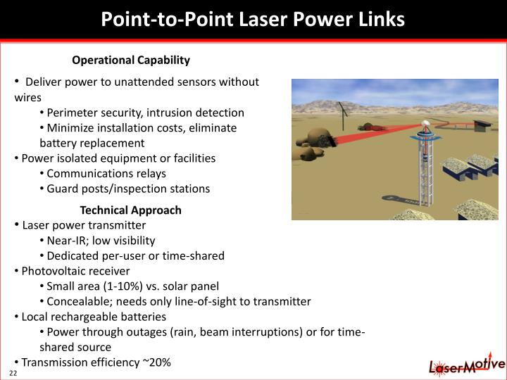 Point-to-Point Laser Power Links
