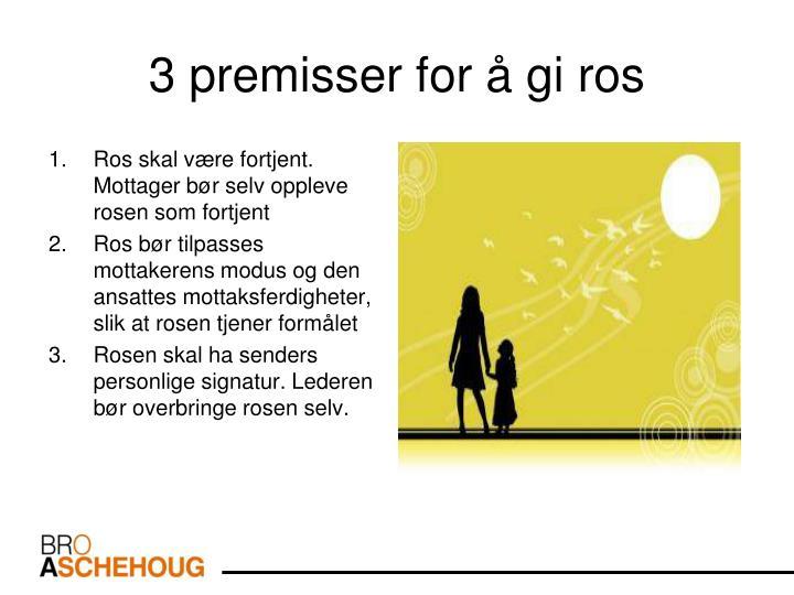 3 premisser for å gi ros
