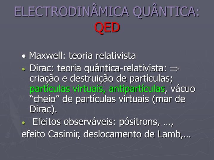 ELECTRODINÂMICA QUÂNTICA: