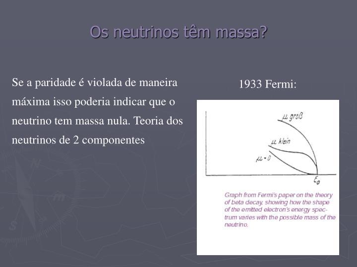 Os neutrinos têm massa?