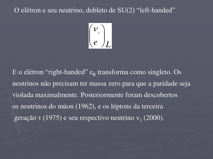 """O elétron e seu neutrino, dubleto de SU(2) """"left-handed"""""""