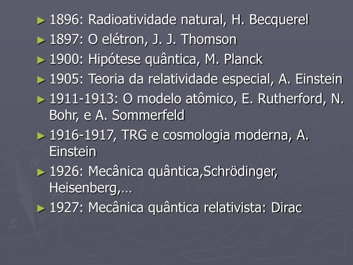 1896: Radioatividade natural, H. Becquerel