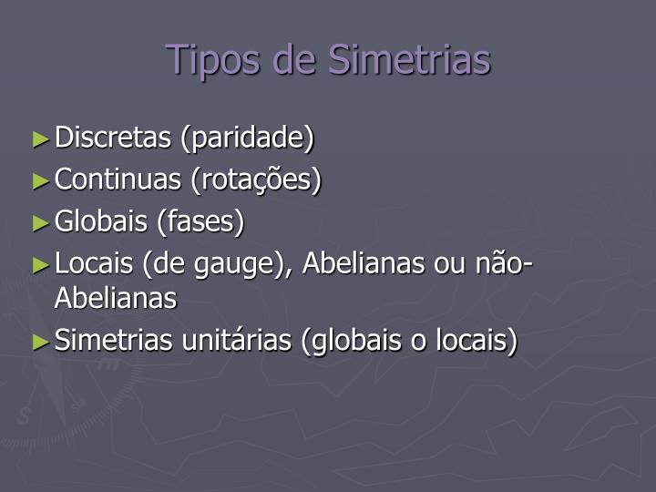Tipos de Simetrias