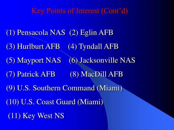 Key Points of Interest (Cont'd)
