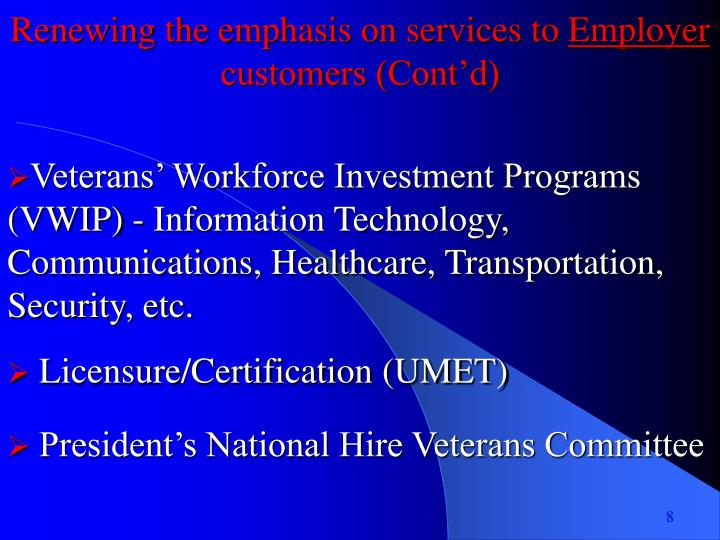 Renewing the emphasis on services to