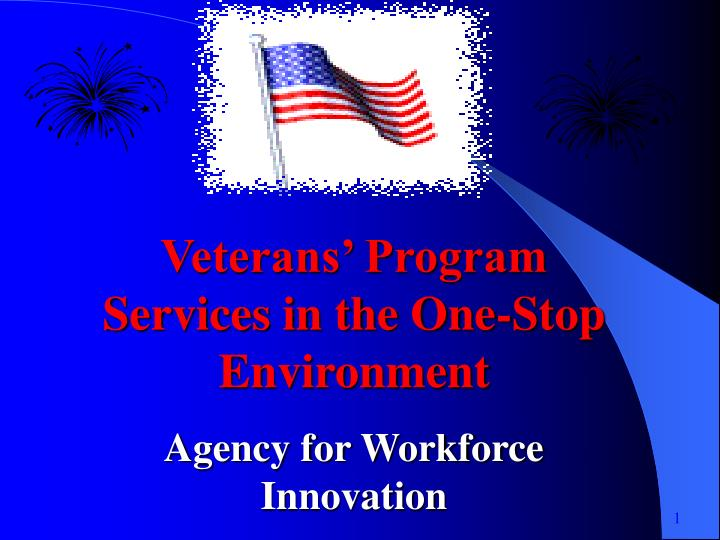 Veterans' Program Services in the One-Stop Environment