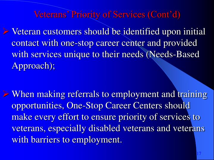 Veterans' Priority of Services (Cont'd)