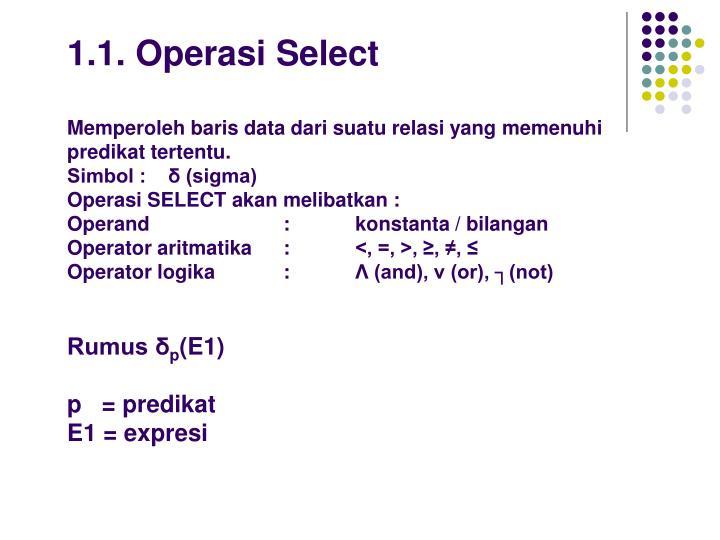 1.1. Operasi Select