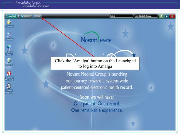 Click the [Amalga] button on the Launchpad to log into Amalga