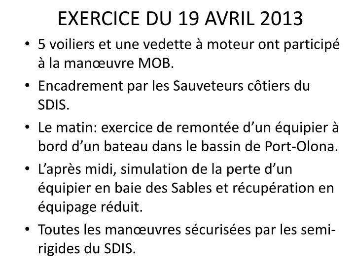 EXERCICE DU 19 AVRIL 2013